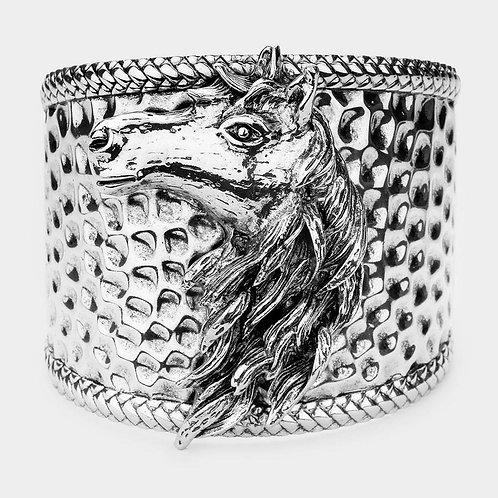 Metal Horse Head Cuff Silver
