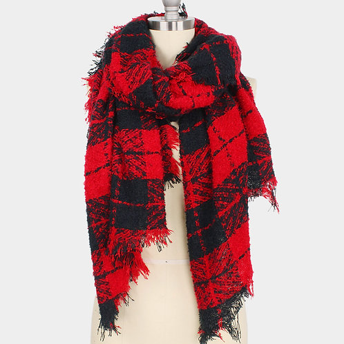 Plaid Bias Oblong Scarf Red