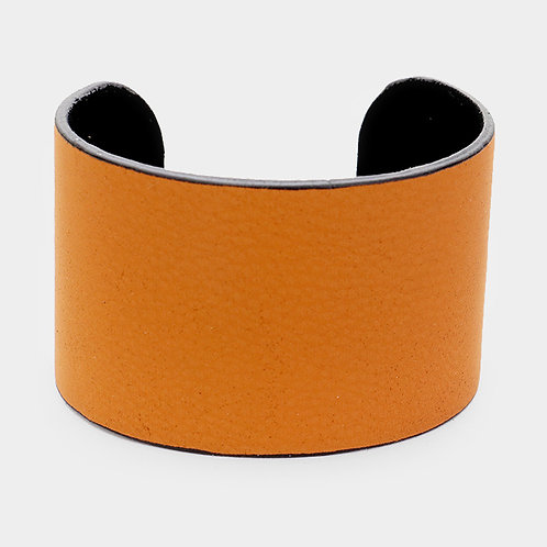 Textured Faux Leather Cuff Cognac
