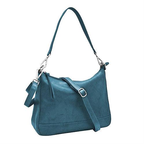Leather Zip-top Hobo Cerulean Blue