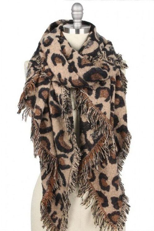 Leopard Print Scarf Brown