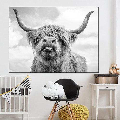 Black White Highland Cow Print Unframed