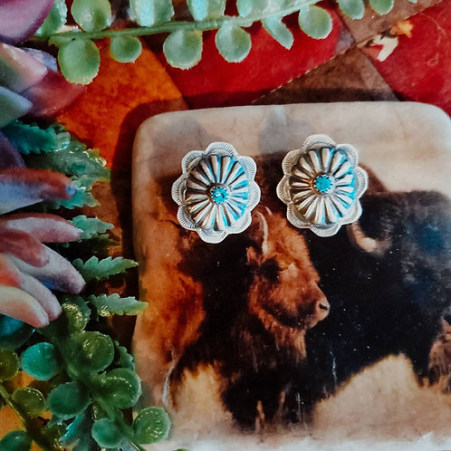 Turquoise Silver Concho Post Earrings Repoussé Sterling