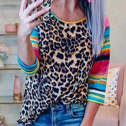 Leopard Serape Top