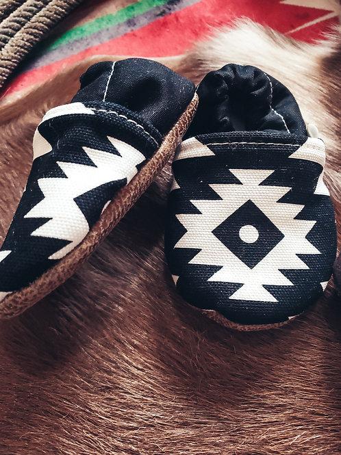 Black & White Aztec Baby Moccasins