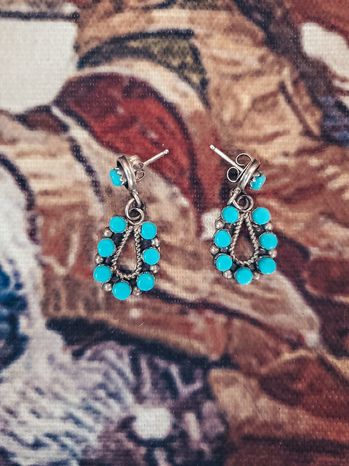 Stamped Sterling Silver Turquoise Dangle Earrings