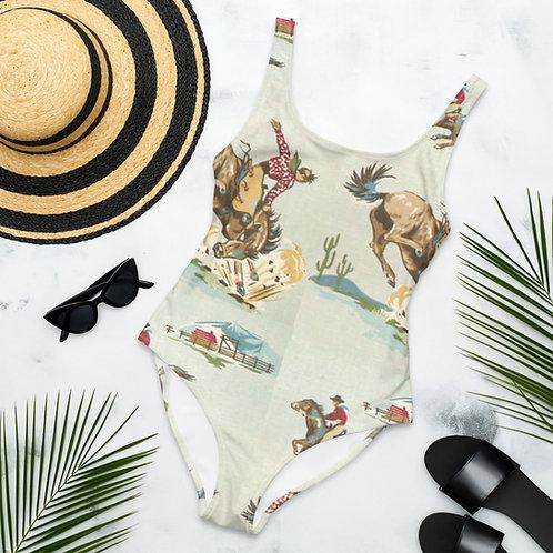 Retro Cowboy One-Piece Swimsuit