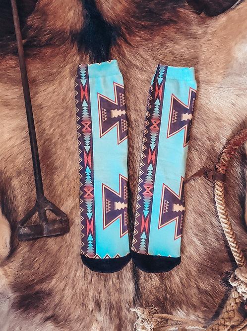 Turquoise Aztec Crew Socks