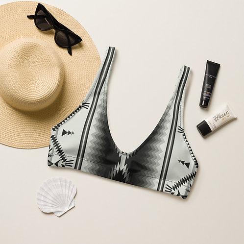 Black & White Aztec padded bikini top