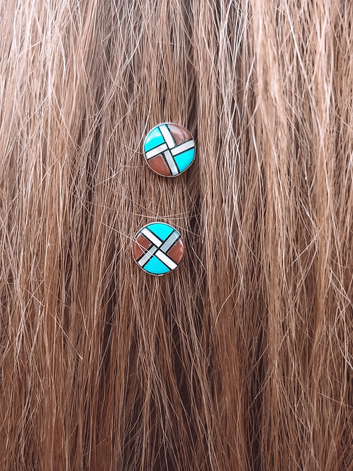 Inlaid Zuni Sunface Post Earrings 7mm Sterling Studs