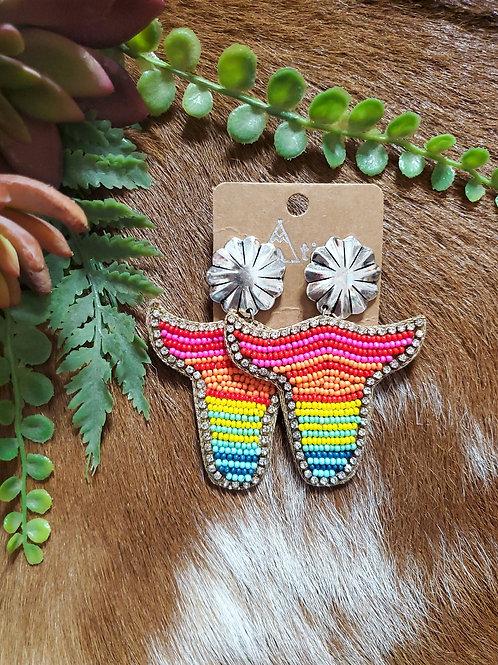 Rainbow Steer Bead Earrings