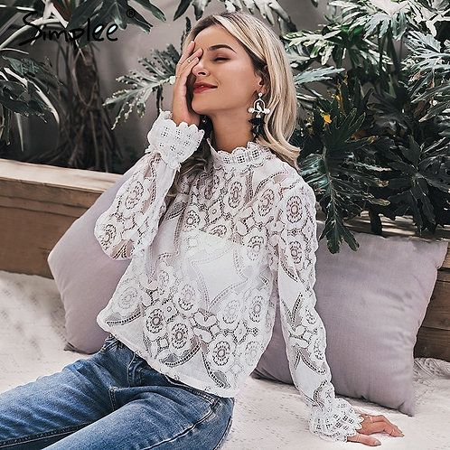 Simplee Elegant White Lace Blouse