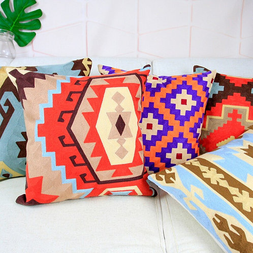 Aztec Style Embroidery Pillow Covers