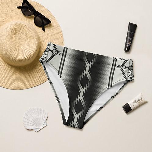 Black & White Aztec high-waisted bikini bottom