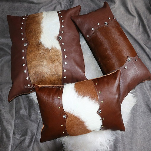 Hand Made Authentic Cowhide  Leather Pillows