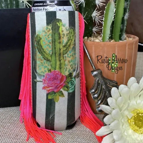 Cactus & Stripes Slim Koozie