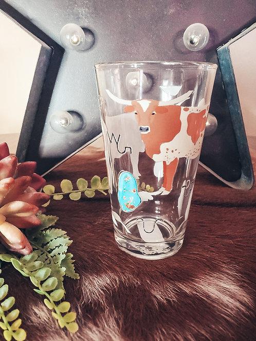 Turquoise n Longhorn Drinking Glasses