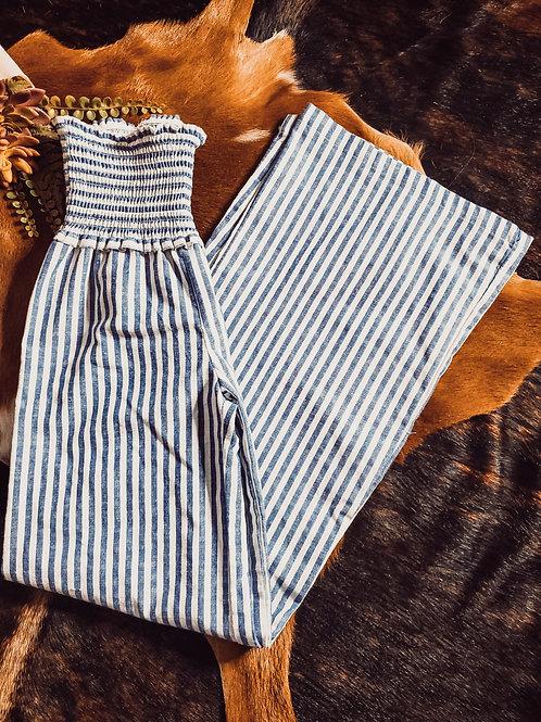 Small Linen Striped Bell Bottoms