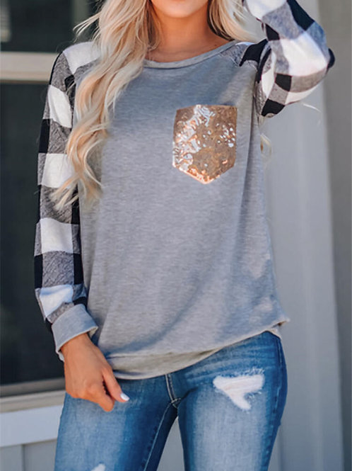 Plaid and Sequins Top