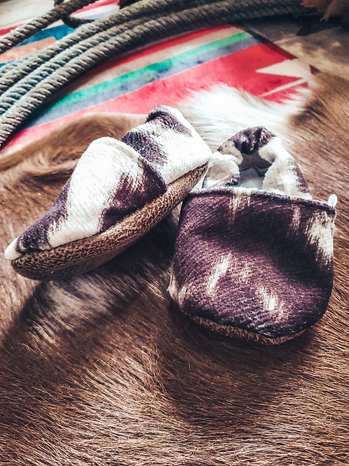 Faux Cow Hide Baby Moccasins
