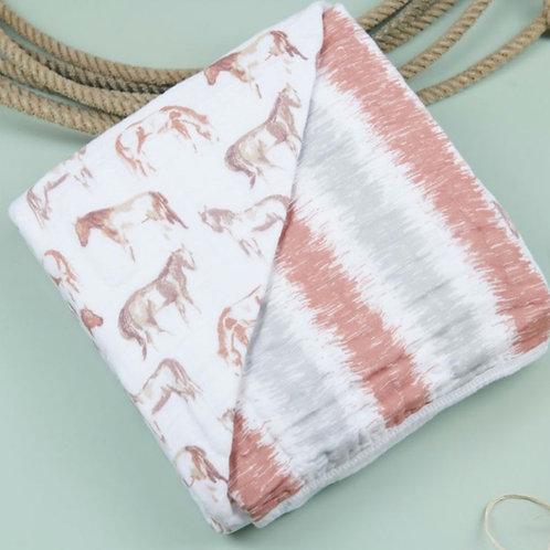 Wild Horses & Stripes Swaddle