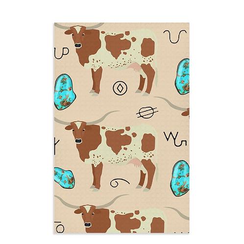 Turquoise n Longhorn Dish Towel