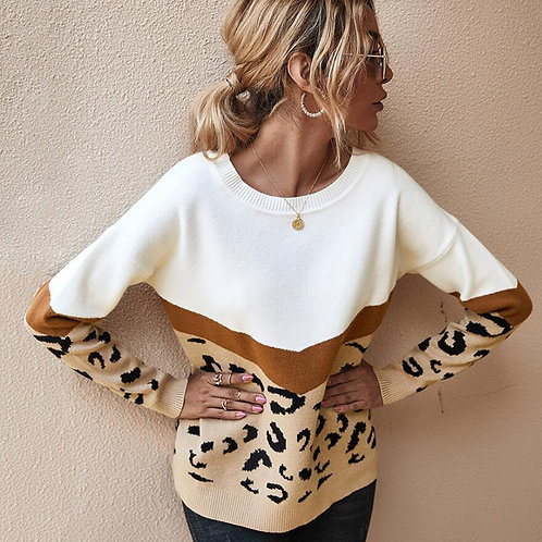 Animal Print Color Block Sweater