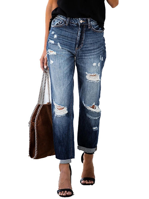 Ripped High Waist Retro Jeans