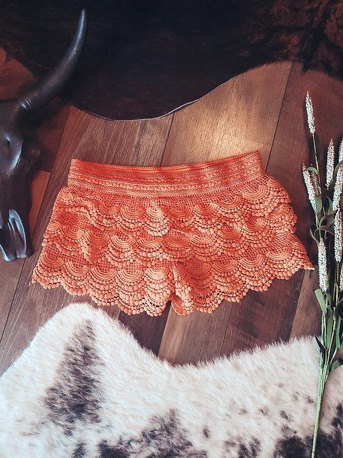 Orange Lace Shorts