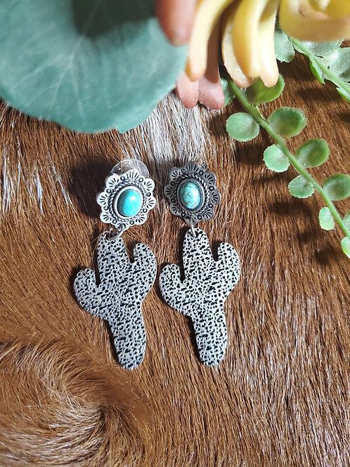 Turquoise Cactus Dangle Earrings