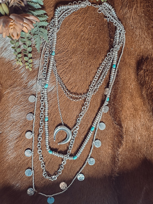 Layered Silver & Turquoise Squash Necklace