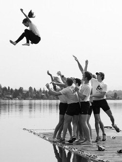 The coxswain toss after a win
