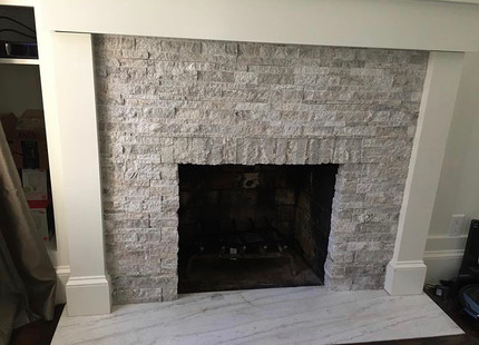Fireplace stone install