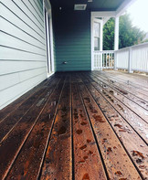 Old and new decking blended and stained