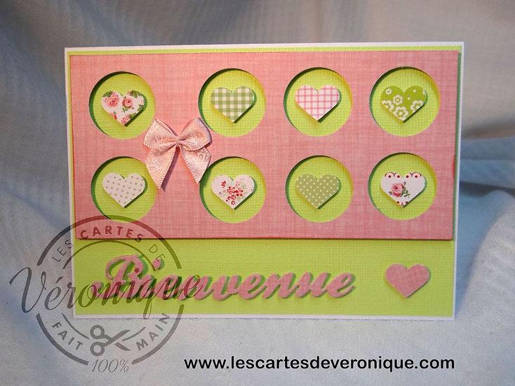 "Carte naissance ""Bienvenue"" fille / Birth card ""Welcome"" girl"