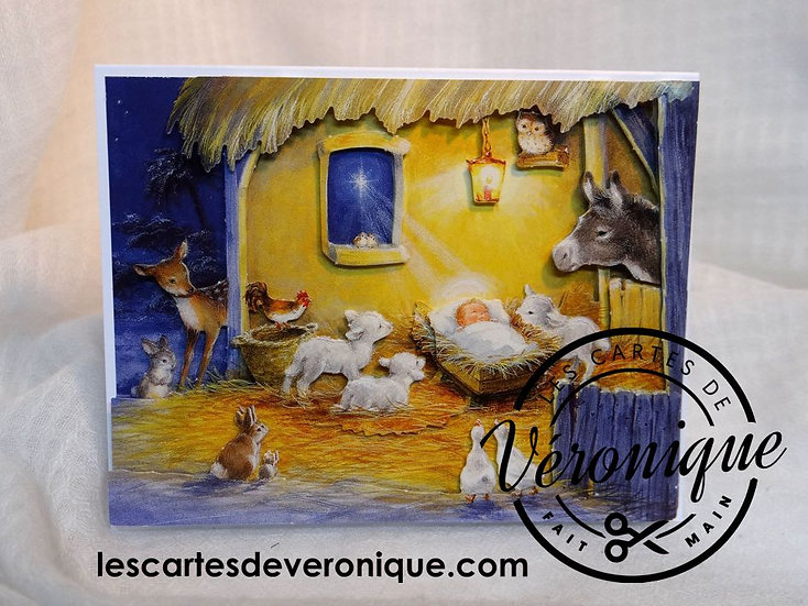 "Carte 3D chevalet ""Douce nuit"" / 3D ""Sweet night"" easel card"