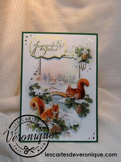 Carte Joyeuses Fêtes Ecureuils / Happy new year Squirrels card