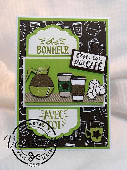 """Carte """"Le bonheur c'est un p'tit café avec toi"""" / """"Happiness coffe"""" car"""