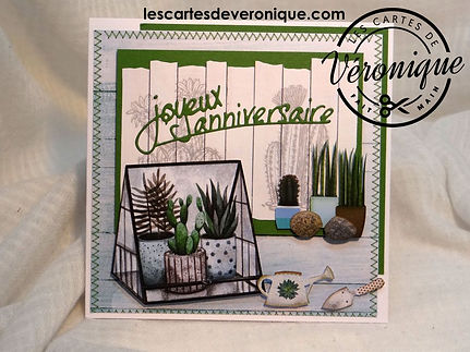 Carte 3D Joyeux anniversaire cactus / 3D birthday card Cactus