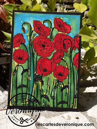 """Double carte """"Coquelicots"""" / """"Poppies"""" double card"""