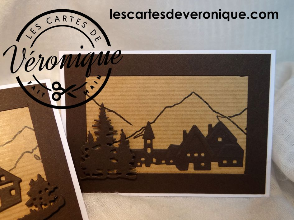 """Lot de deux cartes """"Montagne"""" / Two Mountain cards"""