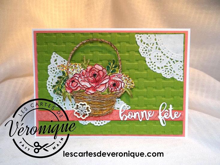 Carte Bonne Fête panier de pivoines / Peoni basket birthday card