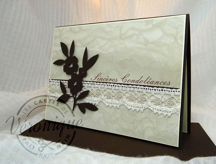 """Carte """"Sincères Condoléances""""/ """"Sympathie"""" card"""