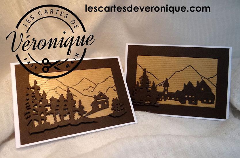 """Lot de 2 minis cartes """"Montagne"""" / 2 minis """"Mountain"""" cards set"""