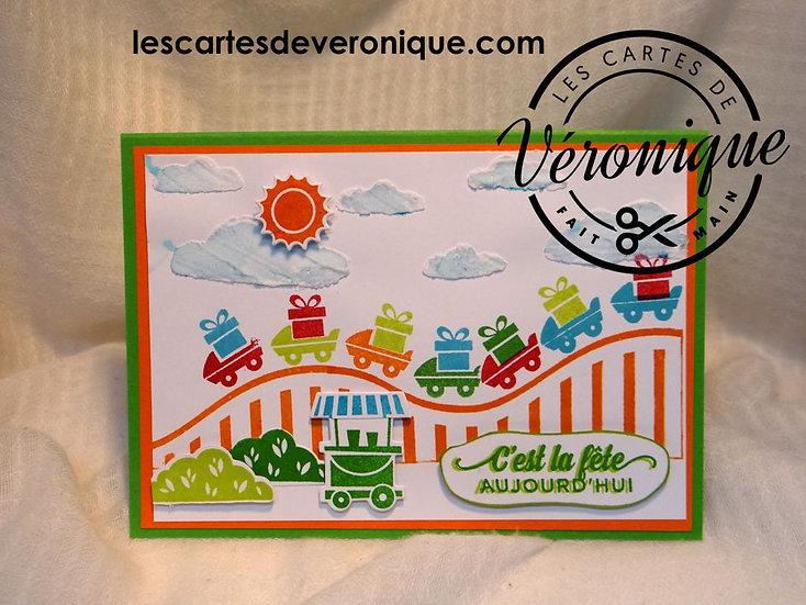 """Carte Pop'Up """"C'est la fête aujourd'hui"""" / """"It's the party today"""" pop'up card"""