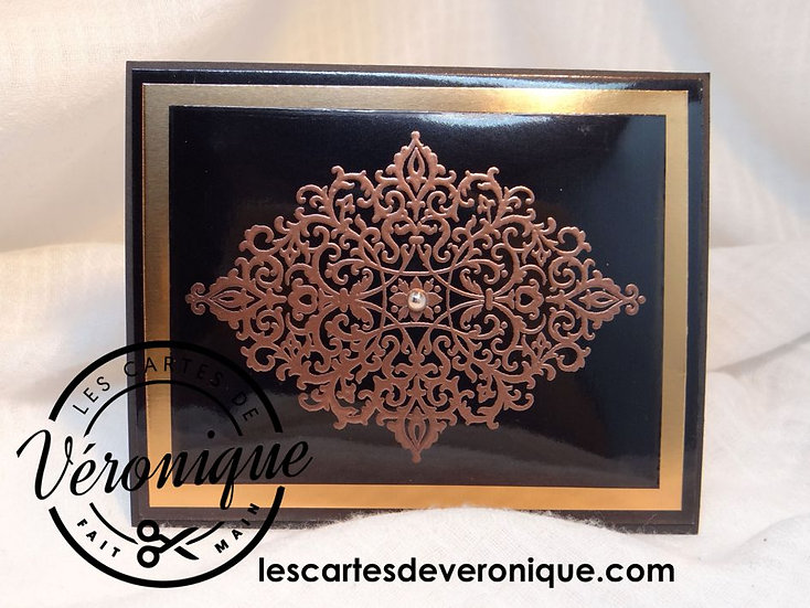 "Carte chevalet 3D ""Bijou de cuivre""/ 3D ""Copper jewelry"" easel card"