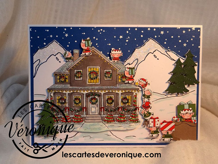 "Carte chevalet ""Lutins coquins""/ ""Naughty Elves"" easel card"