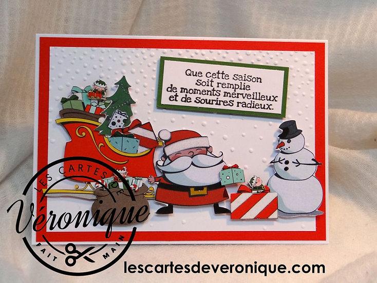 "Carte chevalet ""Bonhomme heureux"" / Happy Snowman easel card"