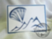 Carte brodée main bleue et blanche parapente / Hand embroidered card blue and white paraglider
