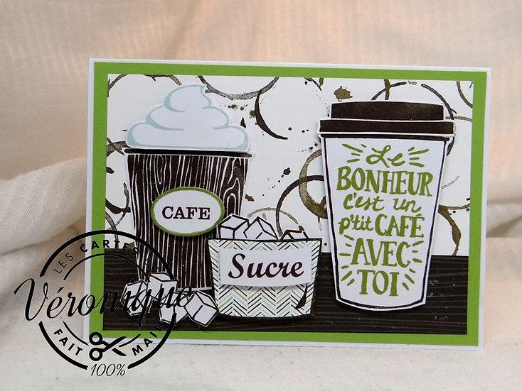 """Carte 3D """"Le bonheur c'est un p'tit café avec toi"""""""""""